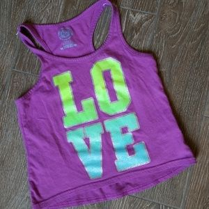 Other - Girl's  purple bling LOVE tank 7/8